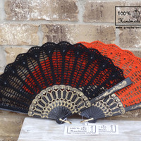 HALLOWEEN SPECIAL Crochet Hand Fan Orange or Black, Wedding Accessory, Lolita, Bride Bouquet, Photo prop, Made in USA