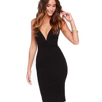V-neck Sleeveless Backless Midi Bodycon Dress