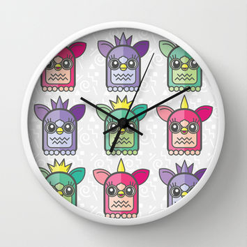 Nineties Furby Pattern Wall Clock by chobopop