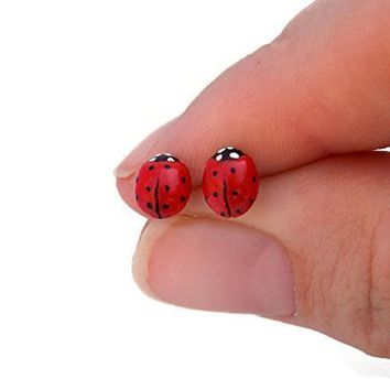 Dainty Red Ladybug Stud Earrings