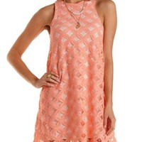 Sleeveless Crochet Shift Dress by Charlotte Russe