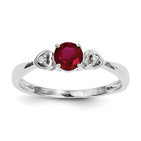 Sterling Silver Rhodium Plated Diamond and Ruby Ring