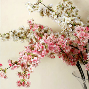 5pcs Decorative Silk Cherry Blossom Artificial Flowers Wedding Decoration Sakura Fake Flowers Centerpieces Decor Peach Flower