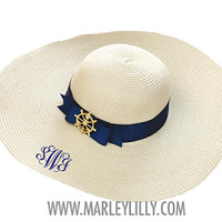 Monogrammed Navy Anchor Wheel Medallion Derby Hat | Derby Hat | Marley Lilly