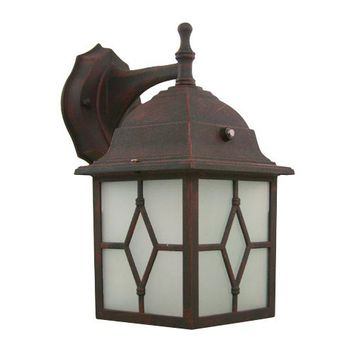 Efficient Lighting EL-101-123VB Powder Coated Victorian Bronze Energy Star Rustic Outdoor Wall Lantern with Photocell and Frosted Glass Diffuser