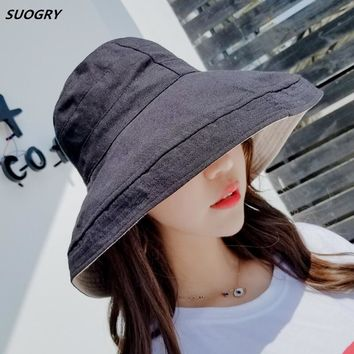 SUOGRY Sun Hat Anti-UV Cotton Summer Hat For Women Vacation Wide Brim Beach Hat Foldable Bucket Hat large Brim Cap 5 Color