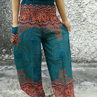 Bohemian Flowers Art Printed Trousers Yoga Pants Boho Stylish Floral Hippies Hobo Paisley Styles Clothing Gypsy Tribal Summer in Green Teal