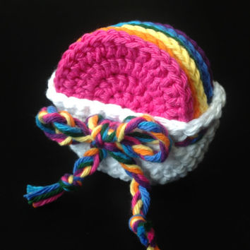 7 Face Scubbers/Scrubbies with Basket (100% Cotton) Rainbow Colors - More Colors in Our Shop! - Pink, Orange, Yellow, Green, Blues, Purple