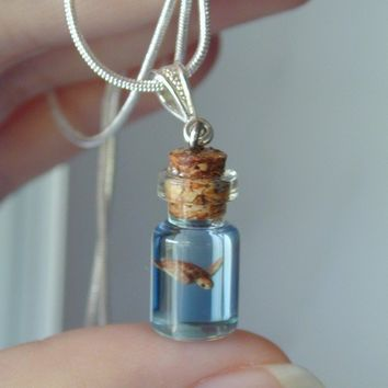 Sea Turtle in a tiny bottle necklace by jen4eternity on Etsy