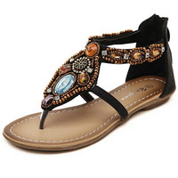 Folk Beaded Brown Black Sandals
