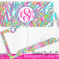Aqua Sea Weed Monogram License Plate Frame Holder Cover Metal Sign Car Tags Personalized Custom Vanity Pink Ocean Lilly Inspired