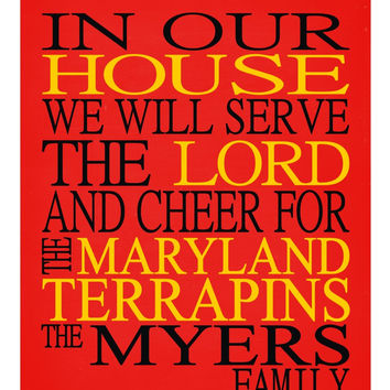 Customized Name Maryland Terrapins NCAA Basketball personalized family print poster Christian gift sports wall art - multiple sizes
