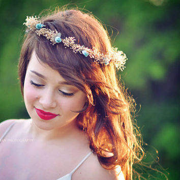 Rustic dried hair wreath aqua teal boho halo preserved babys breath twine silk Flower girl Woodland crown bridal party Wedding Accessories