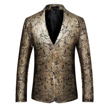 Fashion New Arrival High Quality Gold Velvet Print Unique Design Comfortable Single Breasted Long Sleeve Slim Fit Brand Blazer