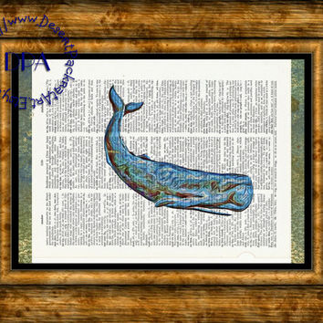 Geeky Blue Sperm Whale Art - Vintage Dictionary Page Art Print Upcycled Page Print, Liquify Art Print