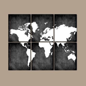WORLD MAP Wall Art Canvas or Prints Bedroom Wall Decor, Grunge Effect, Custom Colors, Desk Office Decor, Library Room, Set of 6, Home Decor