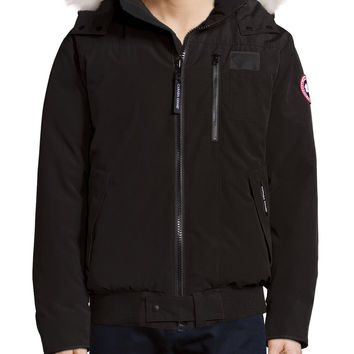 Borden Bomber Jacket with Fur-Lined Hood, Black