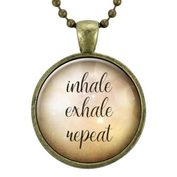 Inhale Exhale Repeat Yoga Necklace, Inspirational Quote Gift Jewelry, Mindfulness Pendant
