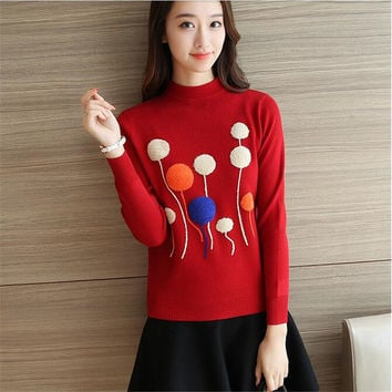 Female Sweater New Autumn Winter Plus Size Knitted O-neck Pullovers Full Sleeve Hot  3D Bling Appliques Outwear 72146 SM6