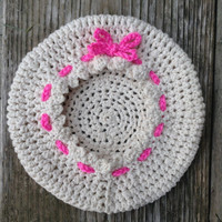 The Magenta Tie, Soft Cotton Baby Girl Hat, Handmade Crocheted Tam, Girl's Beret 6-18 m.o