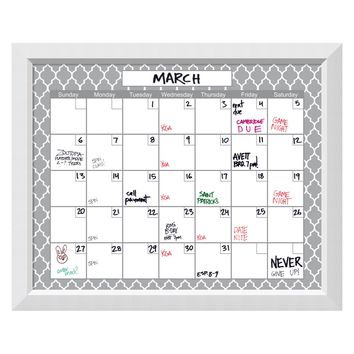 Amanti Art Quatrefoil Calendar Framed Glass Dry Erase Board - Wall Accents at Hayneedle