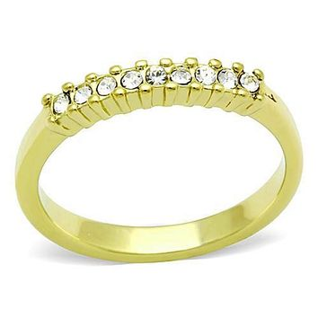 WildKlass Stainless Steel Eternity Ring IP Gold(Ion Plating) Women Top Grade Crystal Clear