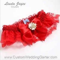 "Red and Red Lace Wedding Garter ""Penny 10"" Gold"