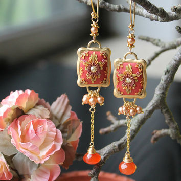 golden freshwater pearls, deep orange carnelian and polymer clay floral long dangle earrings - Tangerina Ballerina