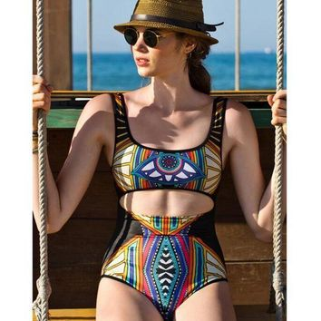 """Kalete Sexy totem printing geometry vest type one piece bikini backless show thin belly holes swimsuit"""""""