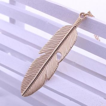 Women Feather Pendant Long Chain Necklace Sweater Statement Vintage Jewelry GD