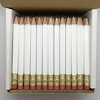 Half Pencils with Eraser - Golf, Classroom, Pew, Short, Mini, Non Toxic, Hexagon, Sharpened, #2 Pencil, Color: White, Box of 72, (half gross) Golf Pocket Pencils TM