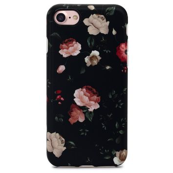 GOLINK iPhone 7 Case for Girls/iPhone 8 Case, Floral Series Slim-Fit Anti-Scratch Shock Proof Anti-Finger Print Flexible TPU Gel Case For iPhone 7/iPhone 8 - Flower Black
