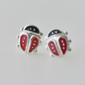 925 Sterling Silver Small Black and Red Enamel Little Beetles Insects Simple Lovely Cute Stud Earrings
