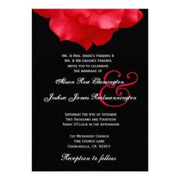 RED Rose Petals II  Wedding Invitation You Online Customize
