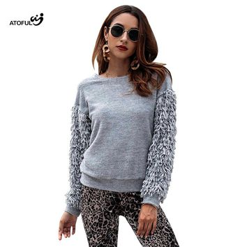 ATOFUL Autumn sweaters women winter 2018 jumpers knitted fashion Fringed long sleeve O Neck Loose Casual Elasticity sweaters