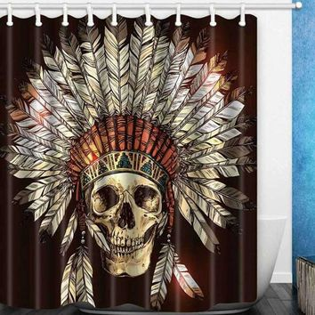 Fire Skeleton skull Shower Curtain 3D Printing Waterproof Mildewproof Polyester Fabric Bath Curtain Bathroom With 12pcs Hooks - D273, 180Widthx210Height