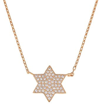 925 Sterling Silver Star of David Necklace Girls Children Clear CZ 16""