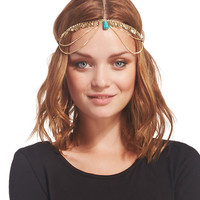 Faux Turquoise & Leaves Head Chain | Wet Seal