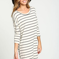 IVORY DOLMAN STRIPED TEE DRESS