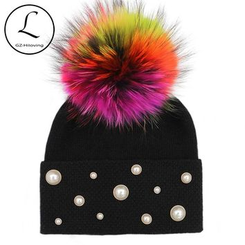 GZHILOVINGL 2017 Winter Hats Skullies Beanies Women's Winter Fur Ball Cap Super Thick Yarn For Knitting Wool Crochet Hat Gorro
