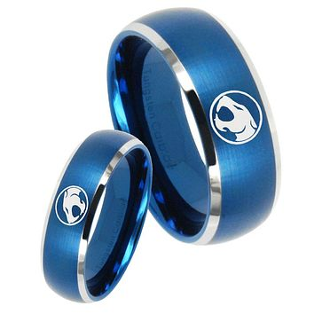 His Her Satin Blue Dome Thundercats Two Tone Tungsten Wedding Rings Set