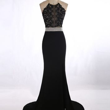 Vestido Para Formatura Sexy See Through Black Lace Appliques Rhinestone Prom Dress Long Mermaid Prom Dresses With Slit