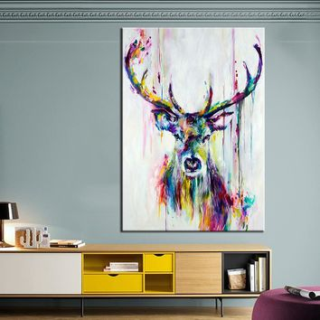 QKART Animal Painting Colorful Deer Canvas Wall Pictures for Living Room Office Bedroom  Modern Canvas Oil Painting Posters