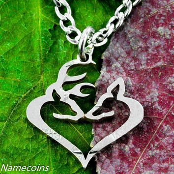 Buck and Doe Kissing Heart Necklace Cut From Quarter, Hand Cut Coin by NameCoins