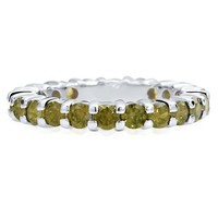 925 Silver Round Peridot Cubic Zirconia CZ Stackable Eternity Ring #r462
