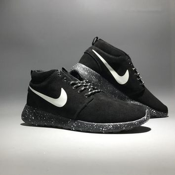 Nike Roshe Run Unisex Sport Casual Fashion Anti-fur High Help Boots Sneakers Couple Running Shoes