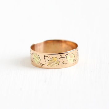 Antique Victorian 10k Rose Yellow & Green Gold Leaf Ring - Size 7 1/2 Vintage Late 1800s Vine Wedding Cigar Band Fine Stacking Jewelry