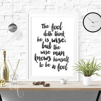 Wall art decor William Shakespeare quote, minimalistic typography giclée print