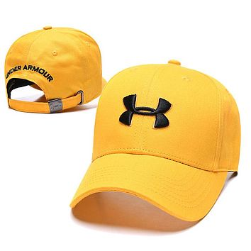Under Armour Fashion Women Men Embroidery Summer Sports Sun Hat Baseball Cap Yellow