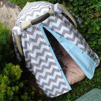 Carseat canopy Grey chevron and baby blue